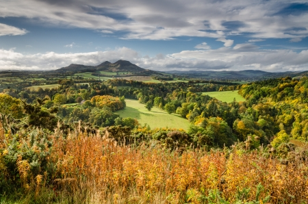 The Eildon Hills in autumn at the Scottish Borders was once a lookout point for Iron Age people and Romans Stockfoto