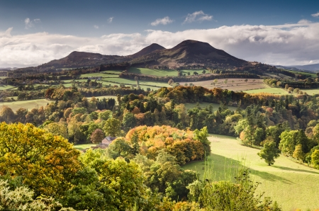 The Eildon Hills in the Scottish Borders was once a lookout point for Iron Age people and Romans 免版税图像