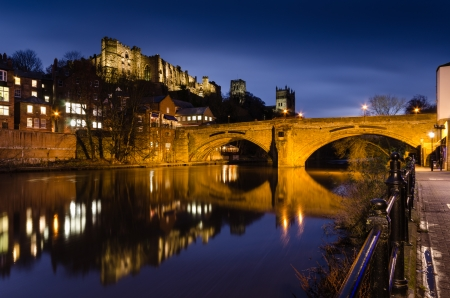 durham: Framwellgate Bridge over the River Wear at Twilight and Durham City skyline which is dominated by its medieval castle and cathedral Editorial