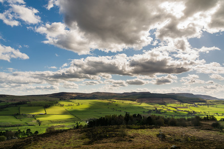 Simonside Hills viewed from Rothbury Terraces over Coquet Valley Northumberland