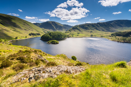 crag: Haweswater from Whiteacre Crag is a reservoir built in the valley of Mardale and flooded in 1935