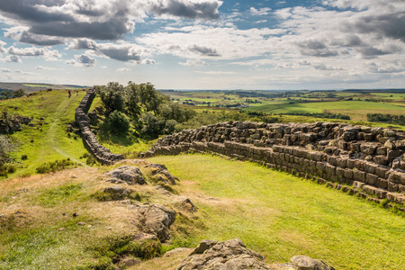 Walltown Crags on Hadrians Wall Stock Photo