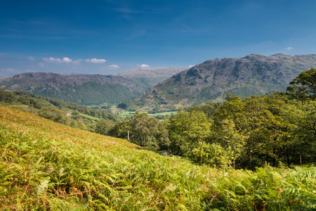 borrowdale: Borrowdale valley viewed from the Honister Pass Stock Photo
