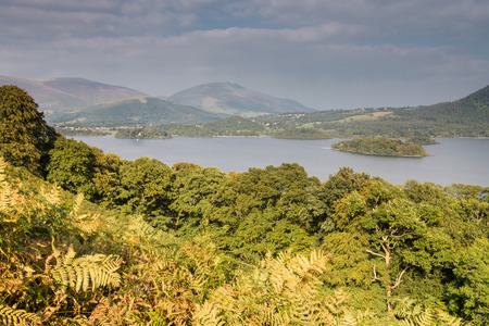 Derwent Water with the mountains of Skiddaw to the rear and St Herberts Island in the lake