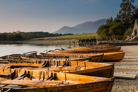 Rowing boats on Derwent Water near Keswick with Mount Skiddaw at the rear photo