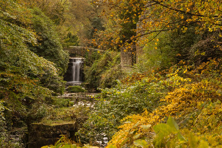 Jesmond Dene waterfall in Autumn set in a deep post-glacial valley providing a quiet haven just one mile from Newcastle Upon Tyne city centre photo