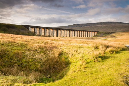 settle: Viaduct at Ribblehead  The Ribblehead Viaduct carries the Settle to Carlisle Railway across Batty Moss spanning 400 m and 32 m above the valley floor