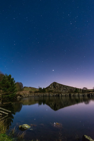 Stars Reflect in Cawfield Quarry  Moonlit Hadrians Wall is in the recently awarded Dark Sky Park in Northumberland photo