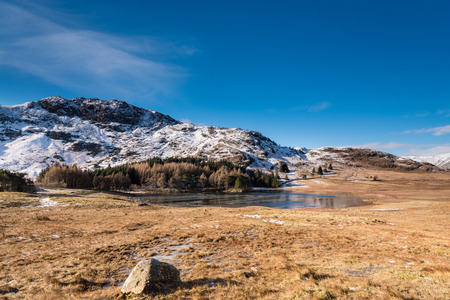 fells: Blea Tarn  Blea Tarn is a remote  small lake among the Langdale Fells in the Lake District