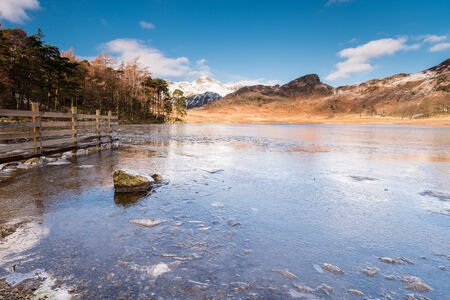 fells: Blea Tarn frozen  Blea Tarn is a remote  small lake among the Langdale Fells in the Lake District
