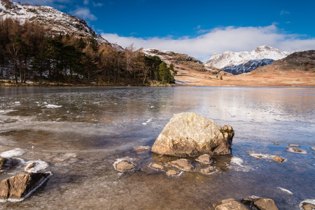 langdale: Frozen Blea Tarn  Blea Tarn is a remote  small lake among the Langdale Fells in the Lake District