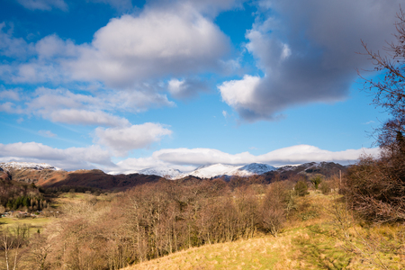 langdale: Snow covered Loughrigg Fell  View of Loughrigg Fell covered in snow from the Little Langdale road