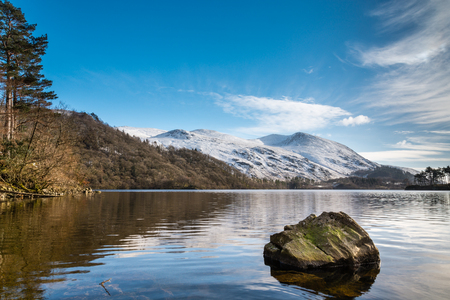 cumbria: Helvellyn in Winter  Helvellyn is the third highest fell in the Lake District located at the east side of Thirlmere Reservoir Stock Photo