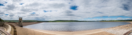 river county: Derwent Reservoir Panorama  The Derwent Reservoir sits on the border of County Durham and Northumberland, with the River Derwent running through it Stock Photo
