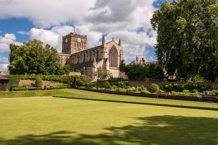 Sunny day at Hexham Abbey - The historic Market Town of Hexham sits in the Tyne Valley in Northumberland. The skyline is dominated by the Abbey