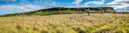 the crags: Great Wanney Crags Panorama - Great Wanney Crag on the edge of Northumberland National Park is a remote escarpment popular with rock climbers