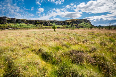 the crags: Great Wanney Crags - Great Wanney Crag on the edge of Northumberland National Park is a remote escarpment popular with rock climbers Stock Photo