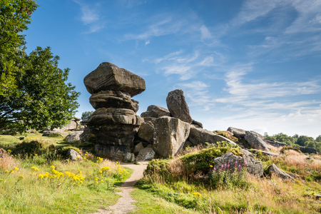 grit: Brimham Rocks - Brimham Rocks on Brimham Moor in North Yorkshire are weathered sandstone, known as Millstone Grit,creating some dramatic shapes, many of which have been named Stock Photo