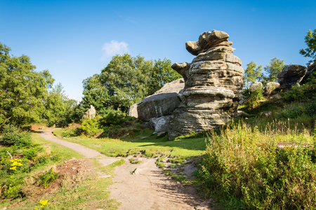 millstone: The Dancing Bear at Brimham Rocks - Brimham Rocks on Brimham Moor in North Yorkshire are weathered sandstone, known as Millstone Grit,creating some dramatic shapes, many of which have been named