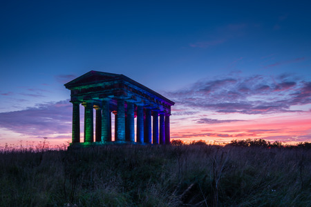 morning blue hour: Penshaw Monument at Dusk  Penshaw Monument is a smaller copy of the Greek Temple of Hephaestus in Athens. Erected in 1844 the folly stands 20 metres high and dominates the skyline of Wearside