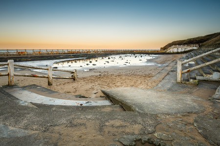 leisure wear: The derelict Tynemouth Lido - The derelict Tynemouth Lido at the south end of Long Sands Beach which is to be redeveloped Stock Photo