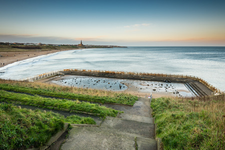 lido: Tynemouth Pool and Sea - The derelict Tynemouth Lido at the south end of Long Sands Beach which is to be redeveloped