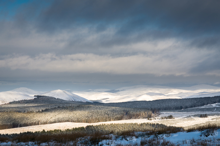 Cheviot Hills under snow - The snow covered Cheviot Hills from the England Scotland Border viewpoint at Carter Bar