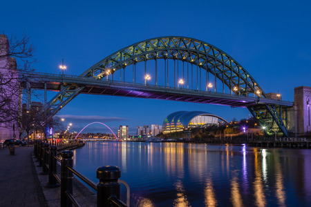 Tyne Bridge and Quayside at night - The iconic bridges over the River Tyne between Newcastle and Gateshead