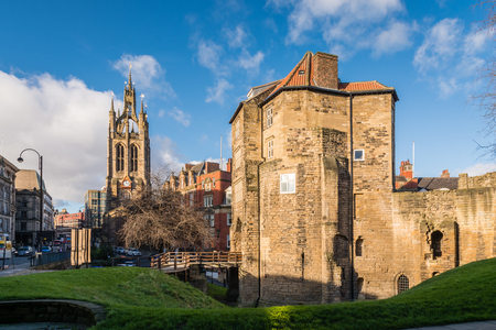 st nicholas cathedral: Black Gate and St Nicholas Cathedral - The Black Gate gatehouse of The Castle with the Cathedral Church of St Nicholas in the heart of Newcastle upon Tyne