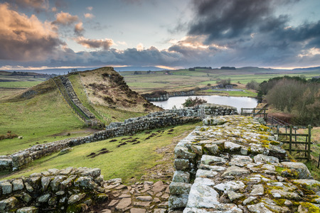 Milecastle 42 on Hadrians Wall - The Pennine Way walking trail joins the Roman Wall at this section