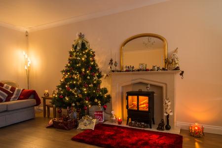 living room at christmas with the warm glow of christmas lights
