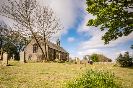 Heavenfield Church and Graveyard - A delightful hilltop church in Northumberland believed to be the location where King Oswald raised a large wooden cross before the Battle of Heavenfield AD 635 Stock Photo