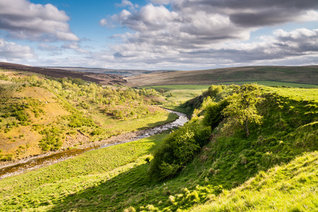 River Coquet in Upper Coquetdale Valley - The River Coquet winds its way through Coquetdale Valley in the Cheviot Hills