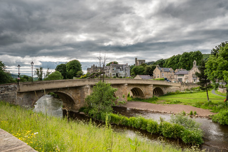 Rothbury Town and Bridge - The road bridge over the River Coquet leads into the town of Rothbury, Northumberland