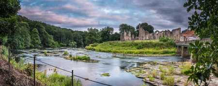 river county: Panorama of River Wear and Finchale Priory - The River Wear flows past the medieval remains of Finchale Priory, in County Durham Stock Photo