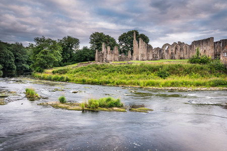 Finchale Priory and River Wear - The River Wear flows past the medieval remains of Finchale Priory, in County Durham