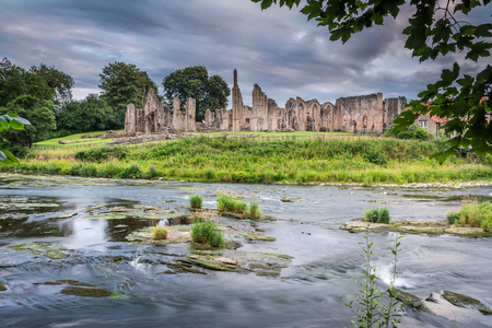 river county: River Wear and Finchale Priory - The River Wear flows past the medieval remains of Finchale Priory, in County Durham
