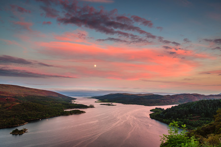 isles: Kyles of Bute in Twilight, also known as Argylls Secret Coast, in the Firth of Clyde, looking down the eastern Kyle after sunset and the moon rising
