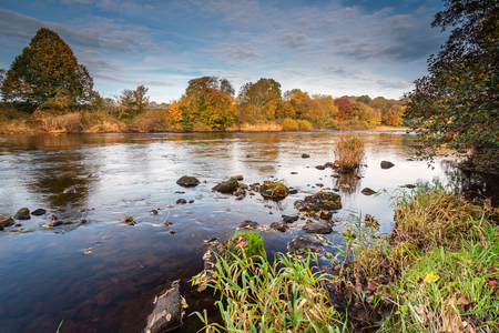 River South Tyne in Autumn,  just above the confluence with the North Tyne, near Warden, Northumberland
