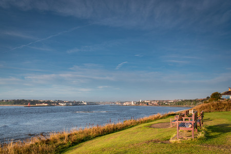 River Tyne Estuary, at the mouth of the River Tyne which is located between South Shields and Tynemouth, where it enters the North Sea, seen here looking upstream to North Shields
