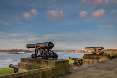 Guns from Royal Sovereign, on the Collingwood Monument which overlooks the mouth of the River Tyne at Tynemouth, and is a fitting memorial to Admiral Lord Collingwood. The four guns upon this monument belonged to his ship the Royal Sovereign
