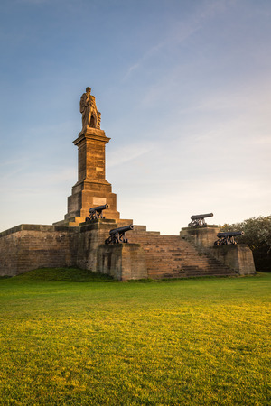 Collingwood Monument, which overlooks the mouth of the River Tyne at Tynemouth, and is a fitting memorial to Admiral Lord Collingwood. The four guns upon this monument belonged to his ship the Royal Sovereign