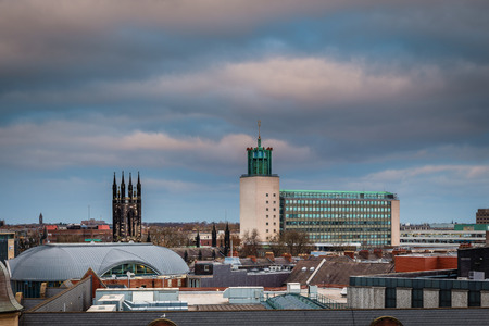 Civic Centre in Newcastle Skyline, in the city centre, from a rooftop view, with the Church of St Thomas spire and the Civic Centre dominating Stock Photo