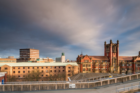 Newcastle University Skyline, in the city centre, with the rooftops of Newcastle University and the Civic Centre beyond Stock Photo
