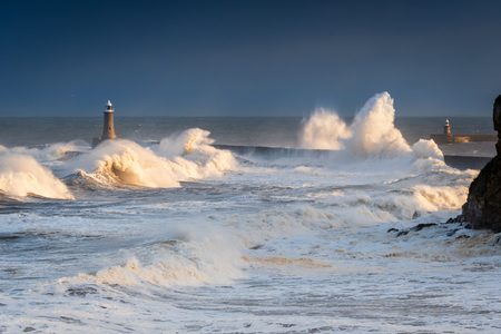 Rough Sea at Tynemouth, as a stormy sea hits Tynemouth North Pier, resulting in high crashing waves cascading into the mouth of the River Tyne