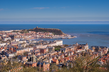 Elevated View of Scarborough - Scarborough is a town on the North Sea coast of North Yorkshire.  Castle Hill separates the seafront into two bays to the North and South