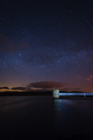 starry night: Stars above Fontburn Reservoir - Fontburn Reservoir in Northumberland is a popular place for fishing and walking, seen her under the stars at night