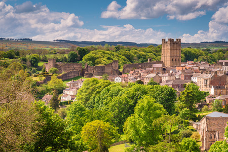 Richmond Castle Skyline, in the market town of Richmond which is sited at the very edge of the North Yorkshire Dales, on the banks of River Swale Stock Photo