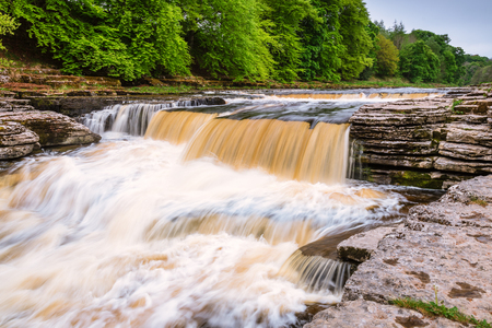 Lower Aysgarth Falls, which consist of three main falls, lower, middle and upper falls. They are spread over a mile of the River Ure in Wensleydale