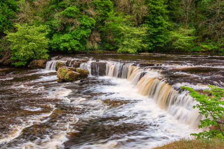 Upper Falls at Aysgarth, which consist of three main falls, lower, middle and upper falls. They are spread over a mile of the River Ure in Wensleydale